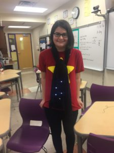 Student models wearable technology