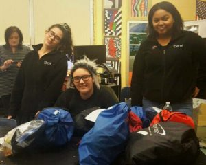 School 12 Girls Group and the bags they packed for the homeless.