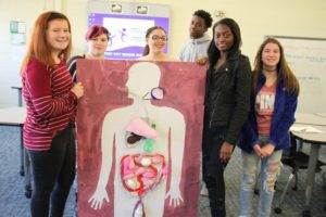 P-TECH students and their display of the digestive system