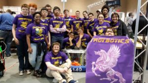 The Troy High Robotics team gathers to take a group photo