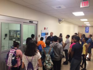 Students touring GE
