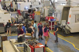 Students on a tour at Simmons Machine Tool