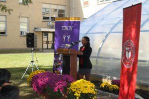 Student Anya Burke addresses the crowd