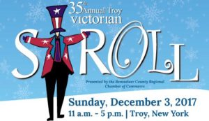 White and blue graphic with illustrated uncle sam. text reads: 35th Annual Troy Victorian Stroll. Sunday, December 3, 2017, 11am - 5pm, troy, ny