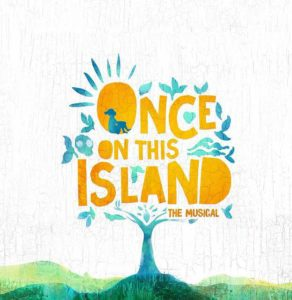"Illustration of ""Once on this Island"" logo, tree with a sun"