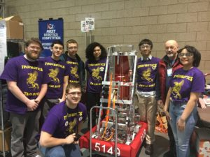 Troy students competing in robotics competition