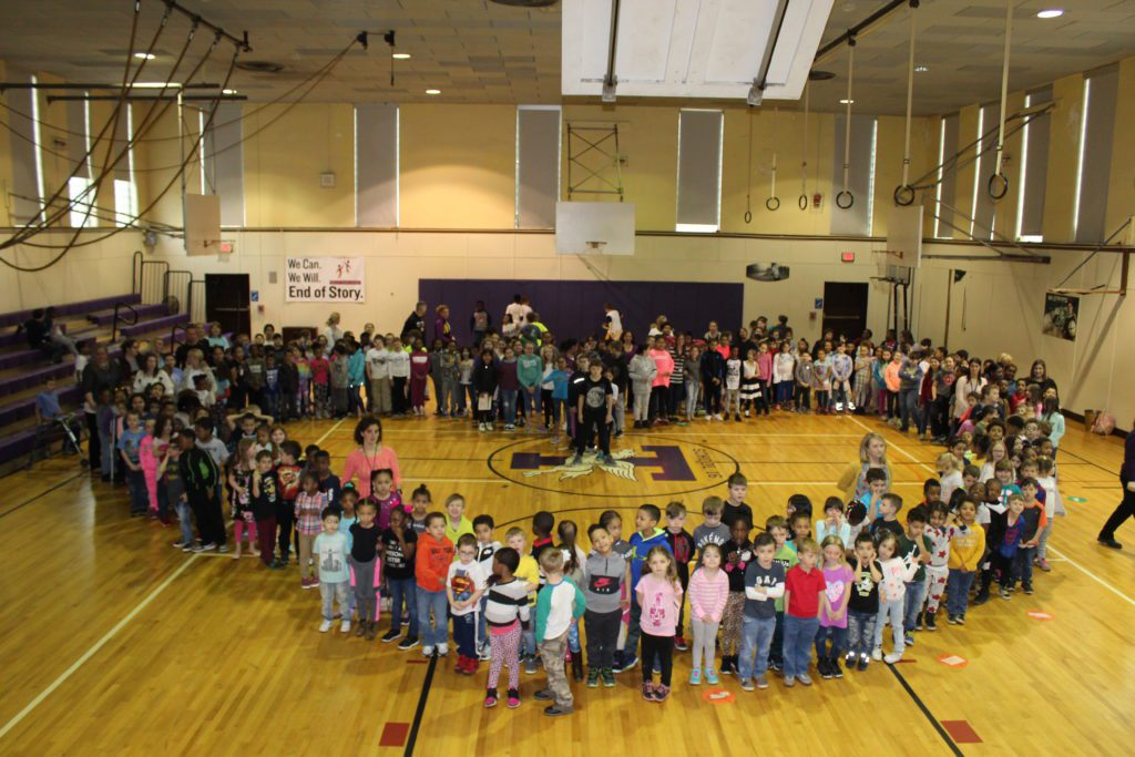 School 16 students formed a heart in the gymnasium.