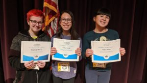 Congratulations to our Spelling Bee winners who will advance to the regional competition @atproctorstheatre on Feb. 4: 1st Place, Satya Groff of TMS (center); 2nd Place, Madison DeVoe of TMS (left); and 3rd Place, Anika Sohn of School 14 (right).