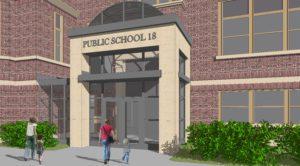 3D rendering of the secure vestibule to be added to School 18.