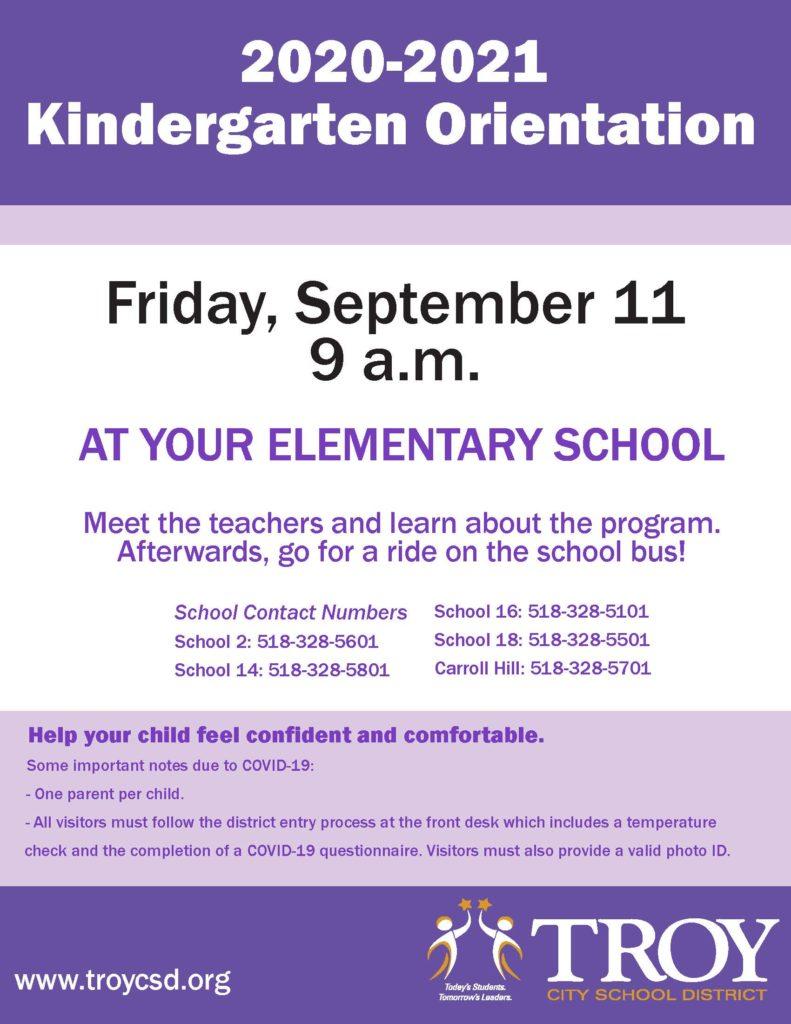 Kindergarten Orientation, Sept. 11, 9 a.m.