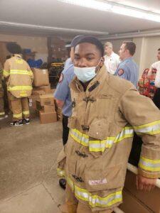 Student in fire gear