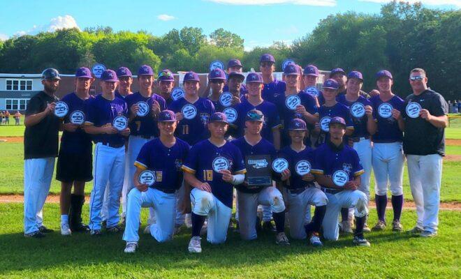 Troy high baseball team and trophy